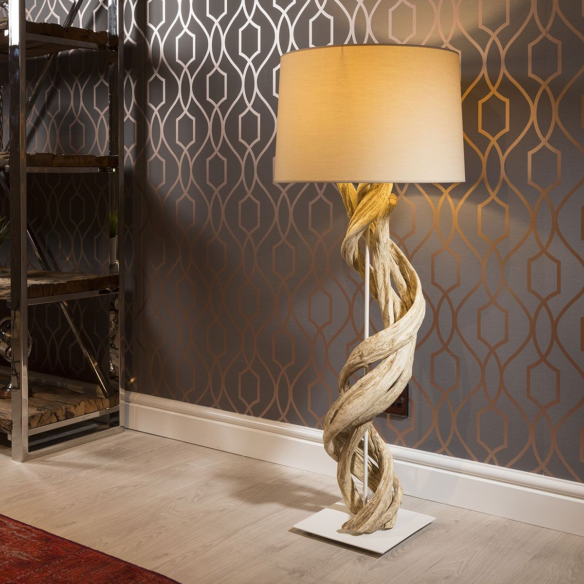 Stunning Unique Driftwood Tall table lamp Cream shade