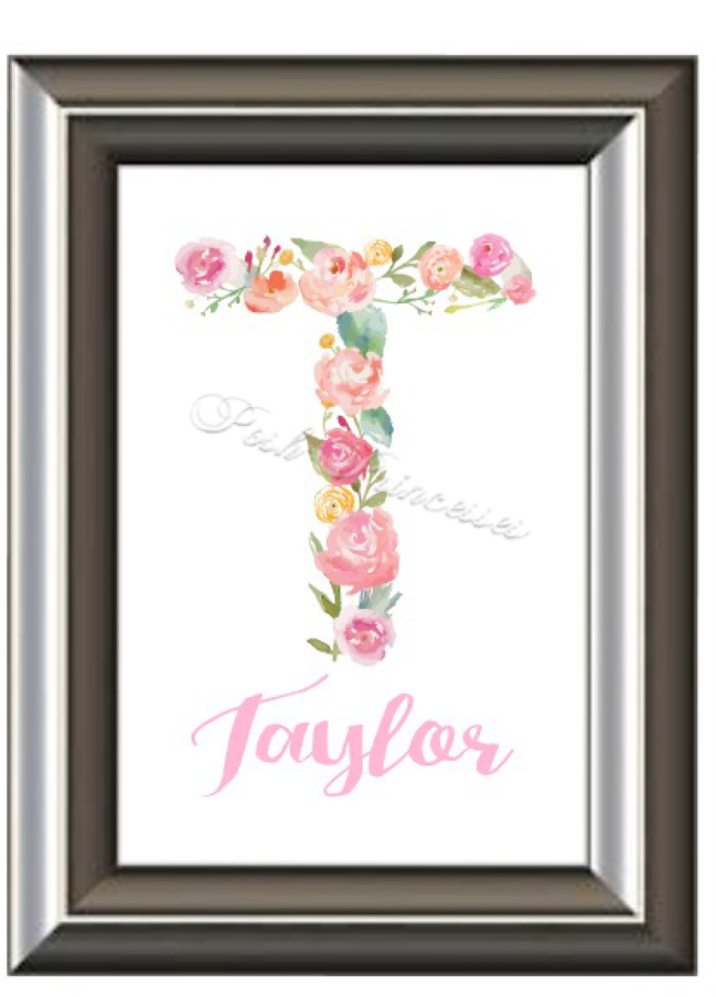 Personalized Baby Gift, Baby Name Wall Art, Watercolor Floral ...