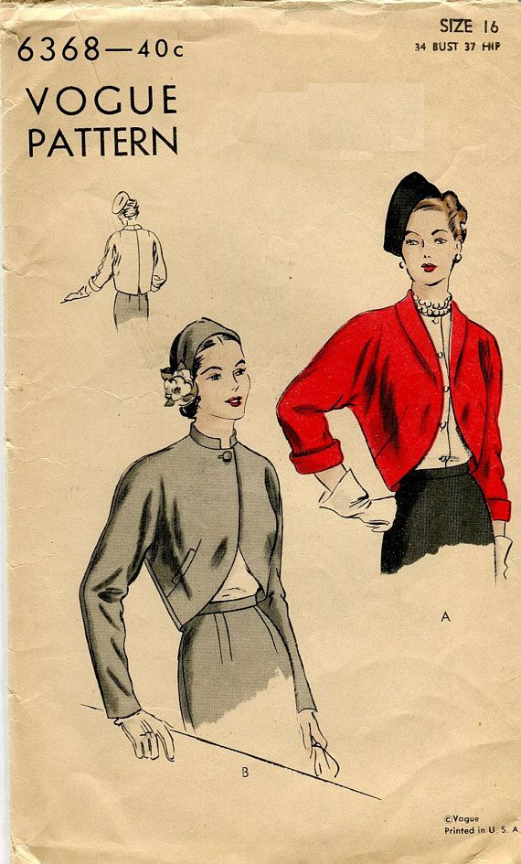 Vogue 6368 C Est 1948 Shaped Bolero Jacket Vintage Sewing Pattern