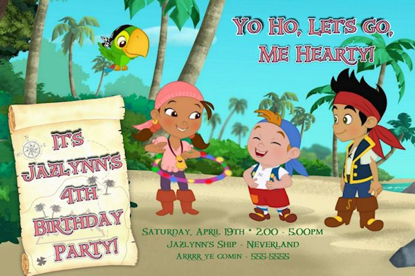 Jake the neverland pirates custom birthday invitation printable jake the neverland pirates custom birthday invitation printable filmwisefo