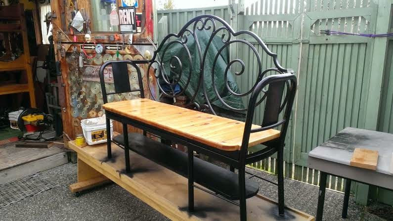 Prime Gregs Repurpose Upcycle Garden Bench Made Form 2 Metal Andrewgaddart Wooden Chair Designs For Living Room Andrewgaddartcom