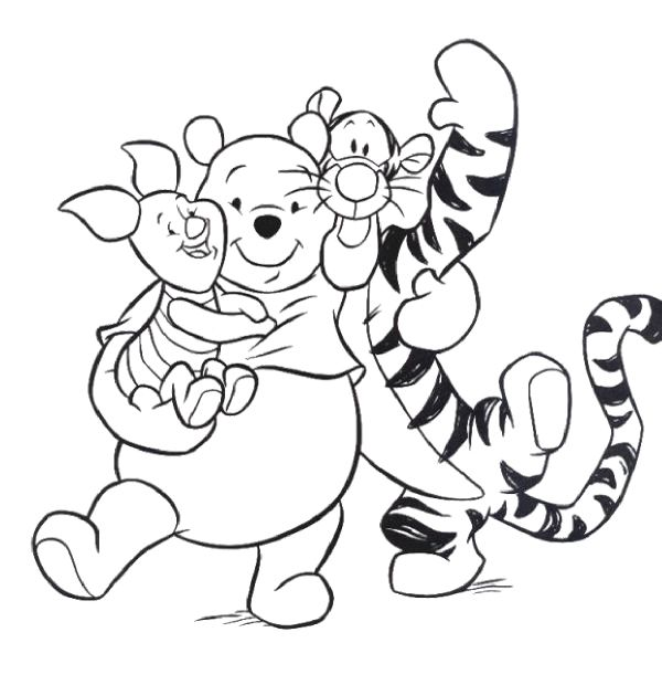 Pooh And Piglet With Tigger Cartoon Coloring Pages | Printables ...