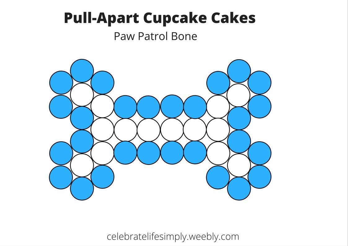 Blue & White dog bone pull-apart cupcake cake template (Paw patrol ...
