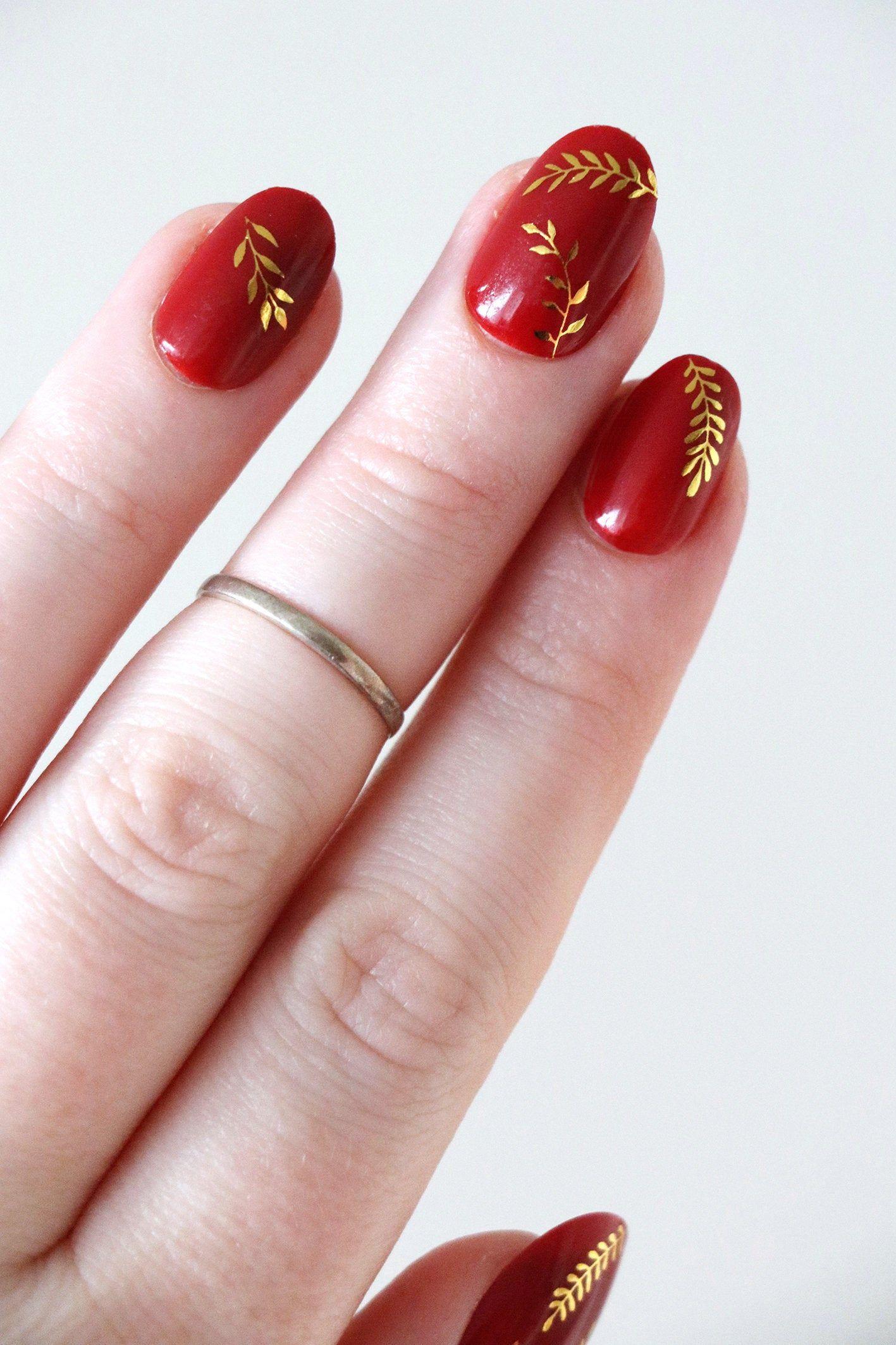 Gold leaves nail tattoos / gold nail decals / nail art /   Etsy