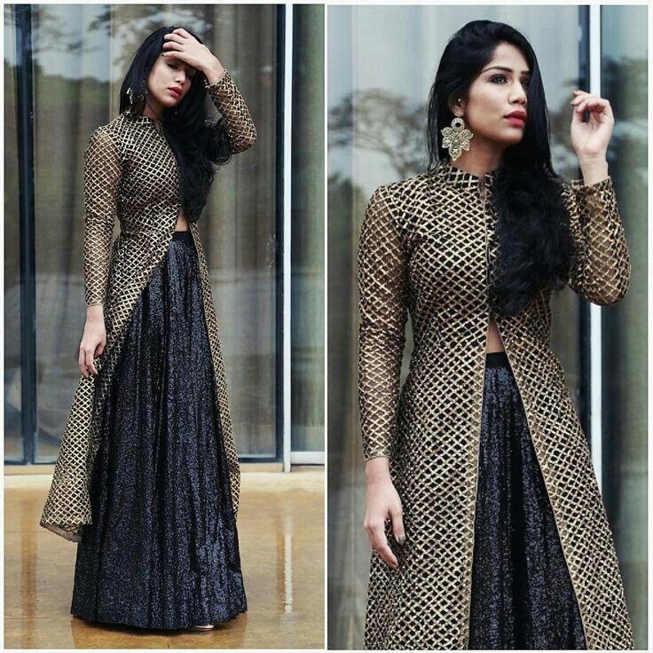 a02647ad24 Long kurta with skirt