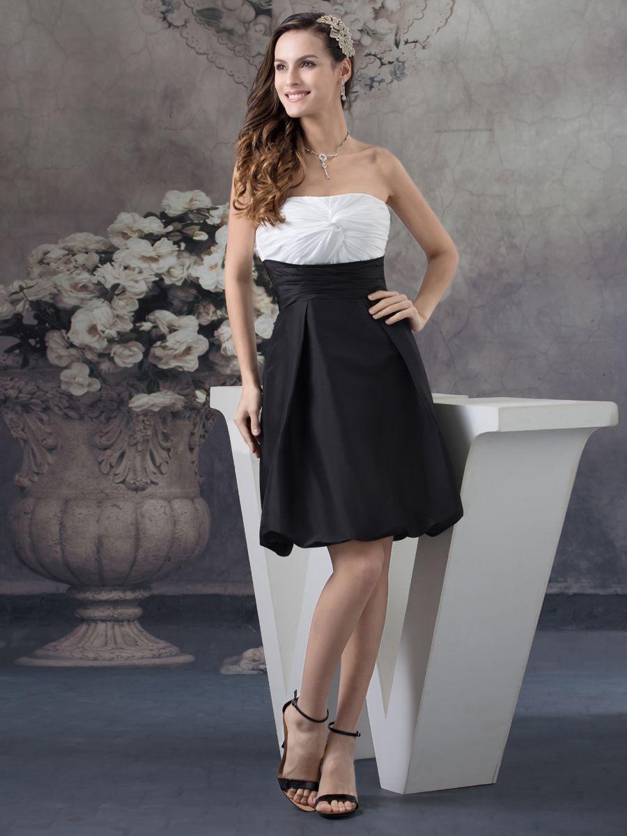 Two toned taffeta and elastic satin graduation dress with pleated