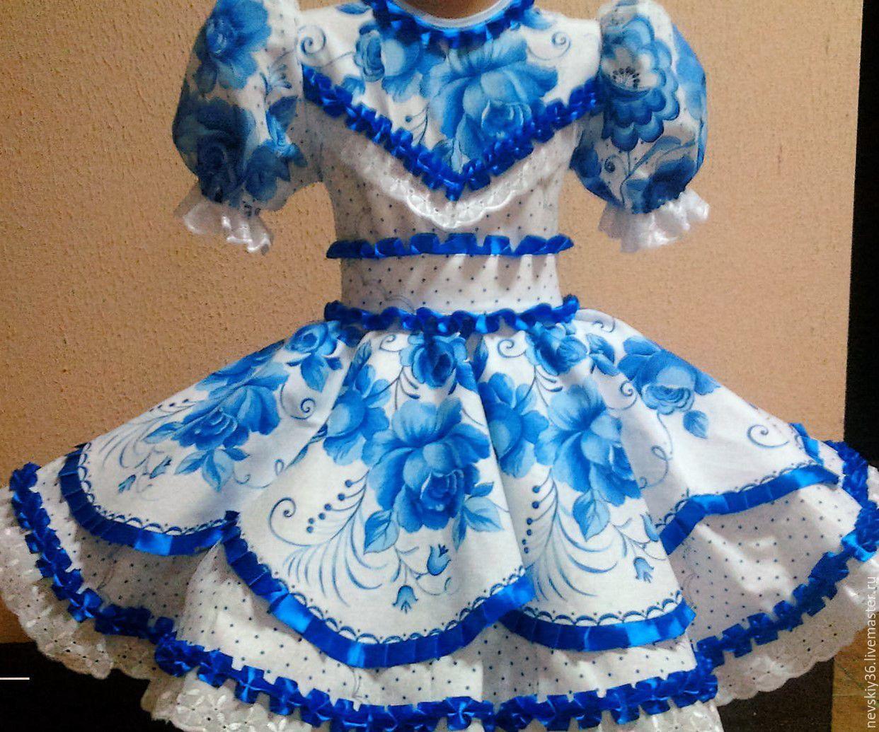 111b3d10e03 Купить платье Гжель 02 - голубой