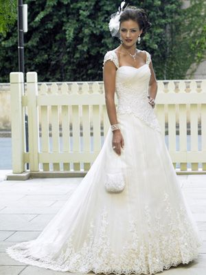 b676e6dd4e9 Wedding Dresses Pictures - A-Line Ball Gown Princess Sweetheart Off the  Shoulder Scalloped-Edge Dropped Cap Sleeve Non-Strapless Satin Tulle  Wedding Dress ...