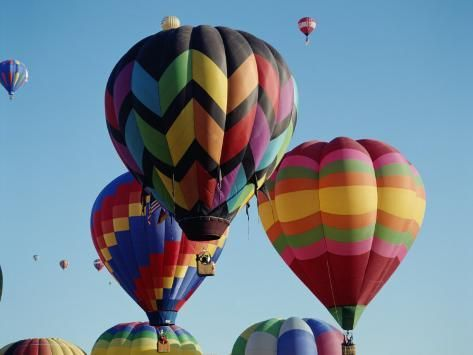 'Colorful Hot Air Balloons in Sky, Albuquerque, New Mexico, USA' Photographic Print - | Art.com
