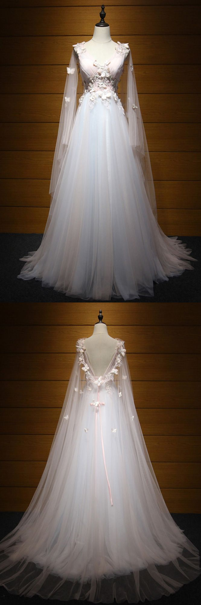Princess nude pink long prom dresss with train and puffy sleeves