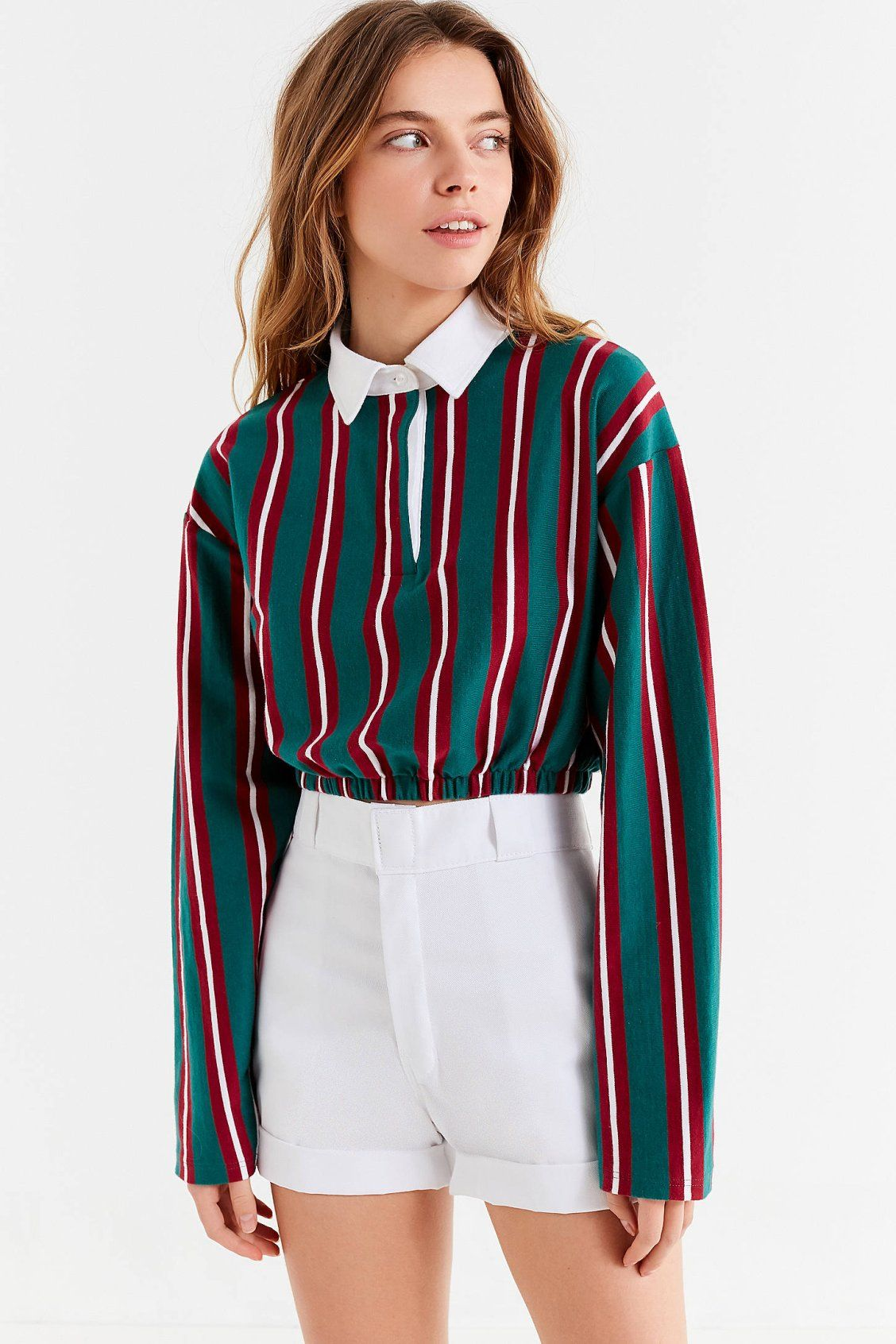 a51187d6f310e UO Rugby Striped Cropped Top