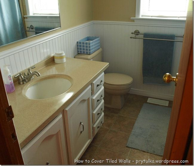 How To Cover Old Bathroom Wall Tiles And Other Fix Ups On A Budget Bathroom Wall Tile Diy Bathroom Remodel Bathroom Makeover