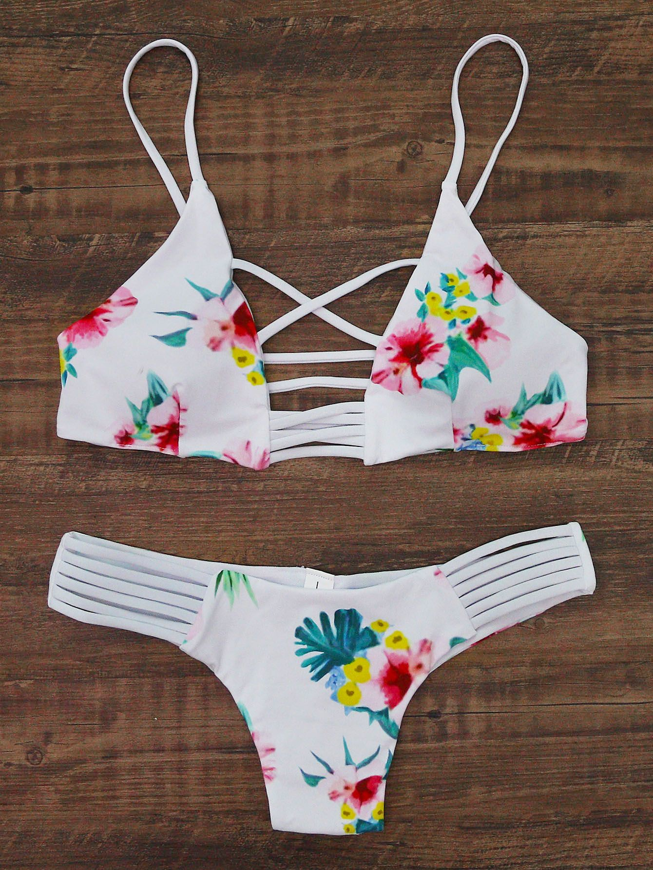a13966dd89 Shop Floral Print Ladder Cutout Bikini Set online. SheIn offers Floral  Print Ladder Cutout Bikini Set & more to fit your fashionable needs.