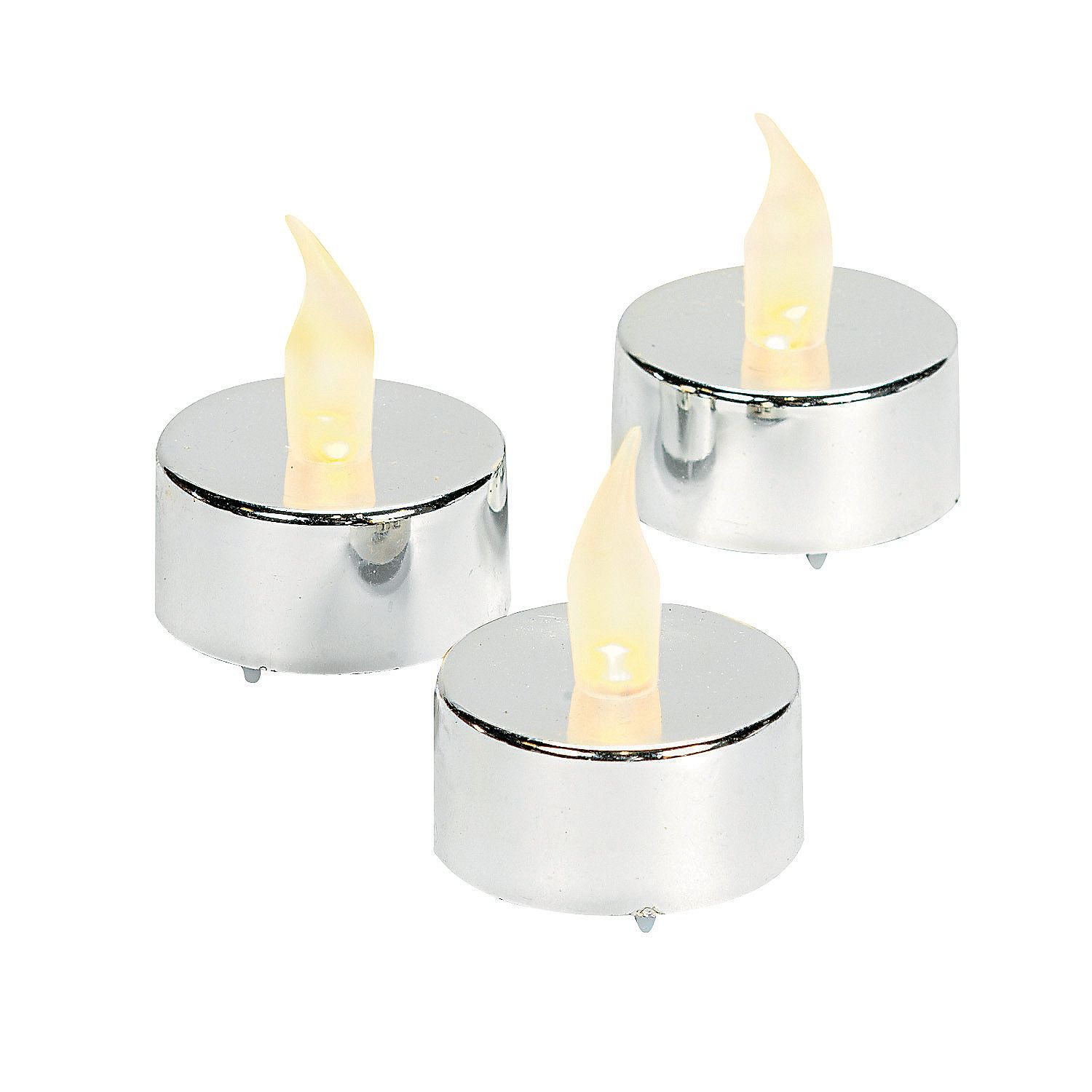 Silver Battery-Operated Tea Light Candles | Battery operated, 25 ...