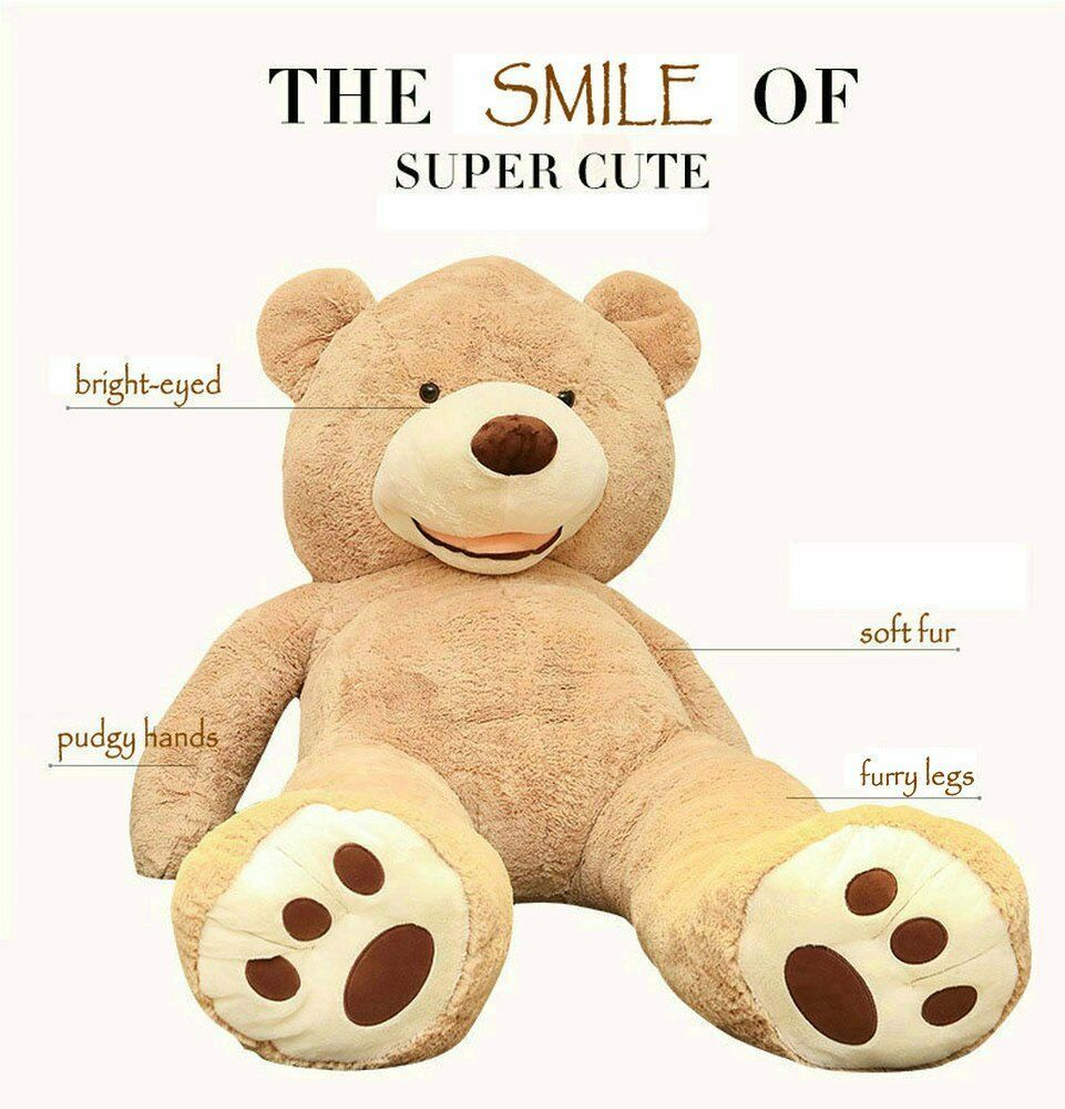 63 inch// 5.2... Life Size Huge Plush Teddy Bear Unstuffed Soft Giant Animal Toy