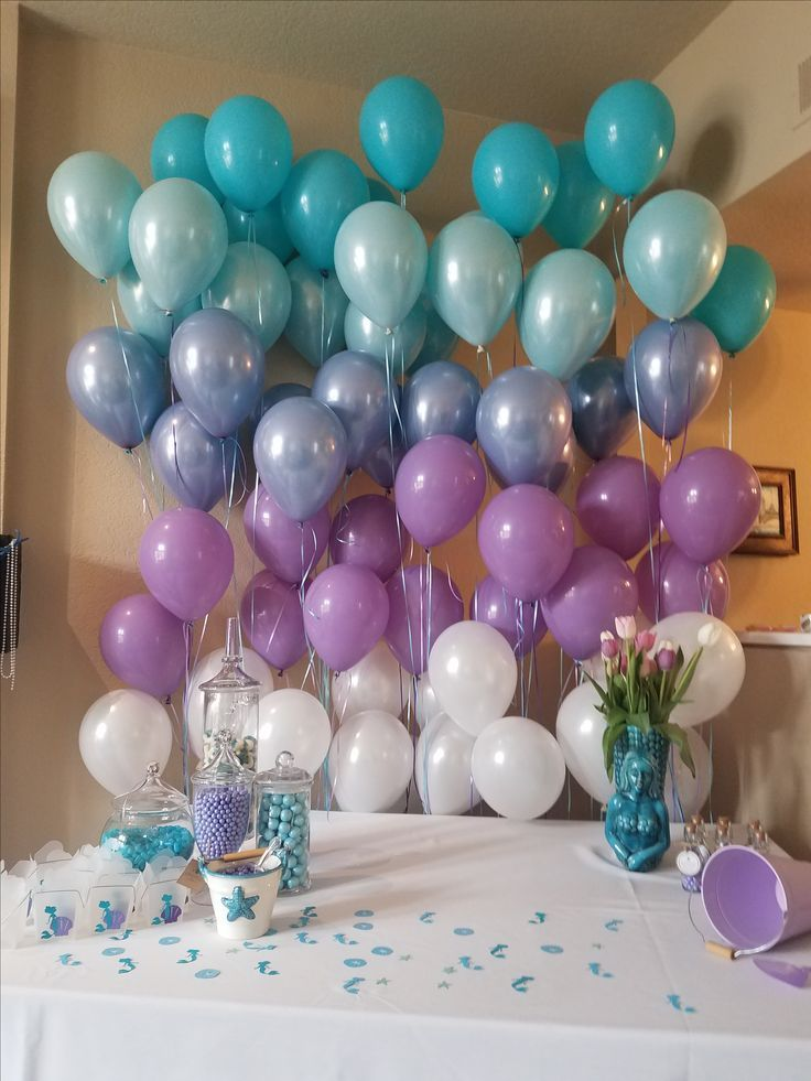 Purple and blue balloon ombre party ideas