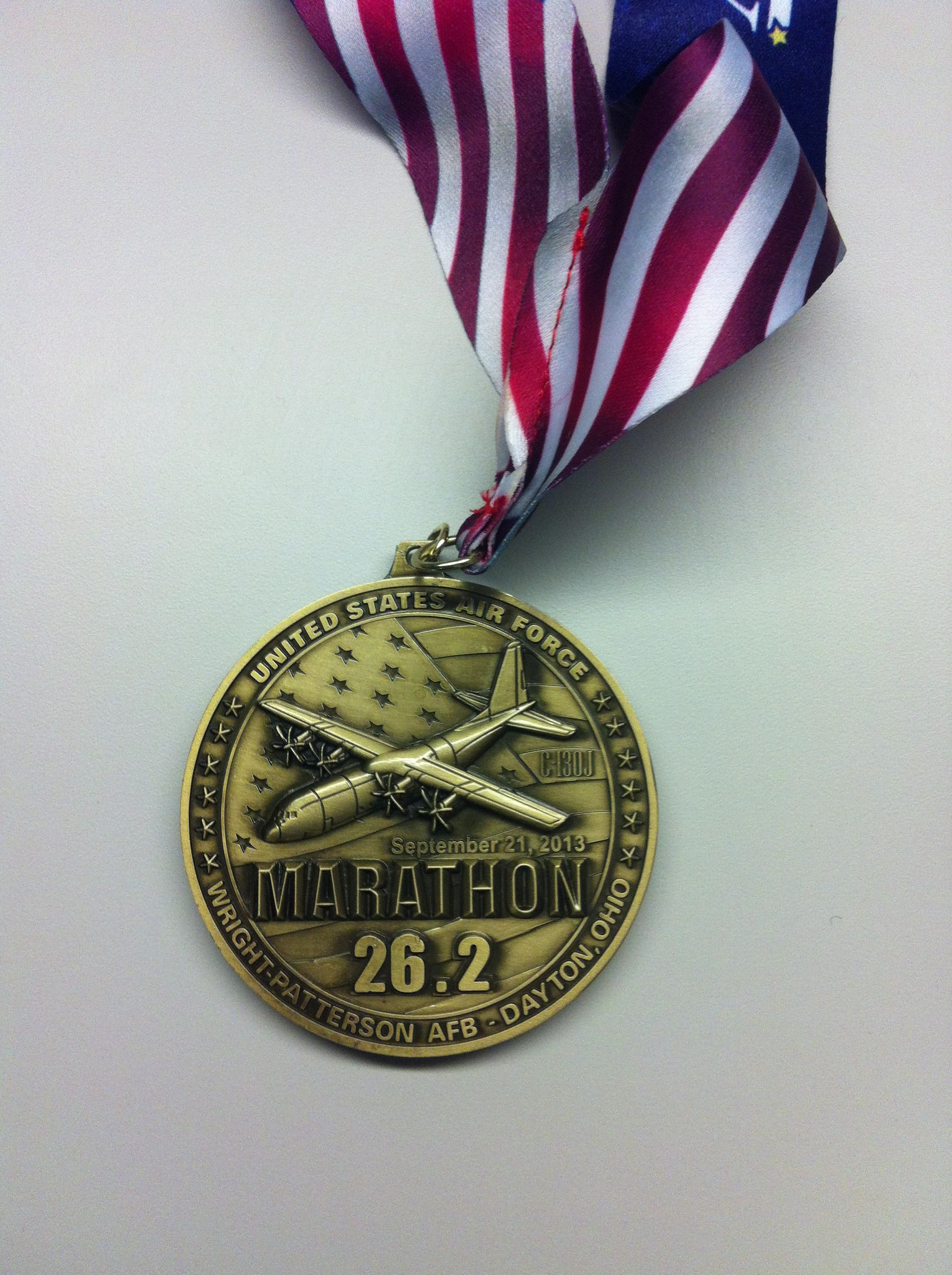 The 2013 Air Force Marathon full marathon medal