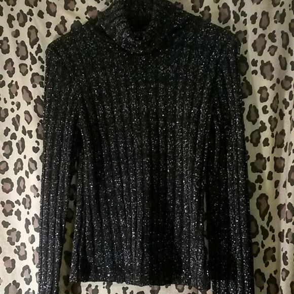 Sexy sparkly sweater + jacket flare sleeve s m 2 pc set sparkly sweater n free jacket with flare bell S leeves. Jacket goes to past hips. Very fashionable. Tops Blouses