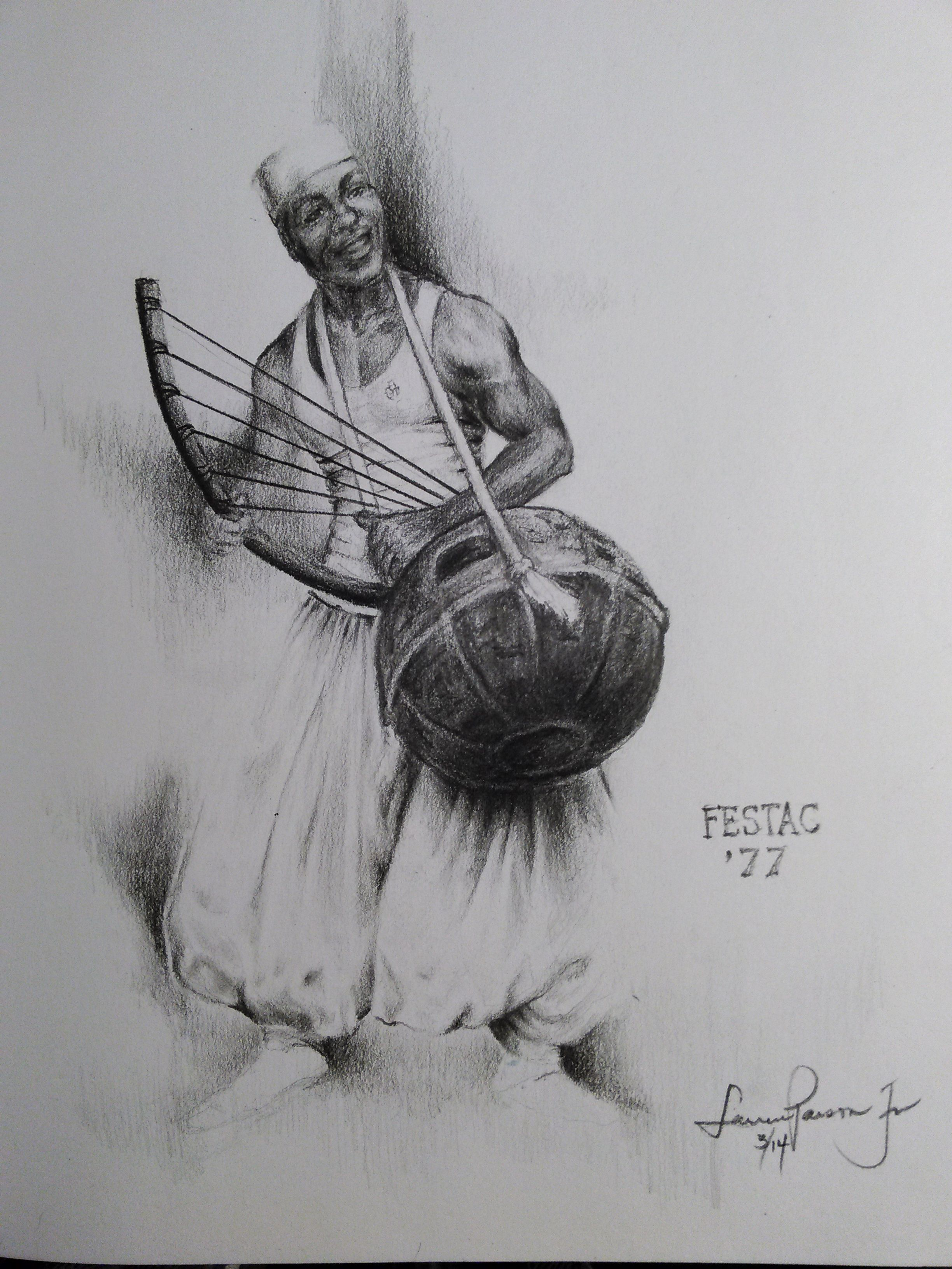 Pencil drawings · jr · festac 77 the festival features poetry sculpture painting music cinema
