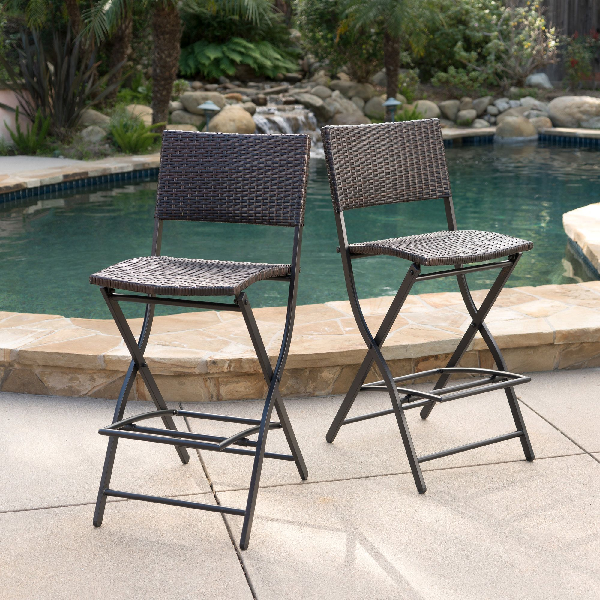 Marvelous Stools Bar Chairs F2C Pack Of 2 Brown Wicker Barstool All Home Interior And Landscaping Ologienasavecom