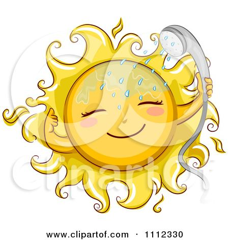 shower head clipart. 1112330-Clipart-Happy-Sun-With-A-Shower-Head- Shower Head Clipart