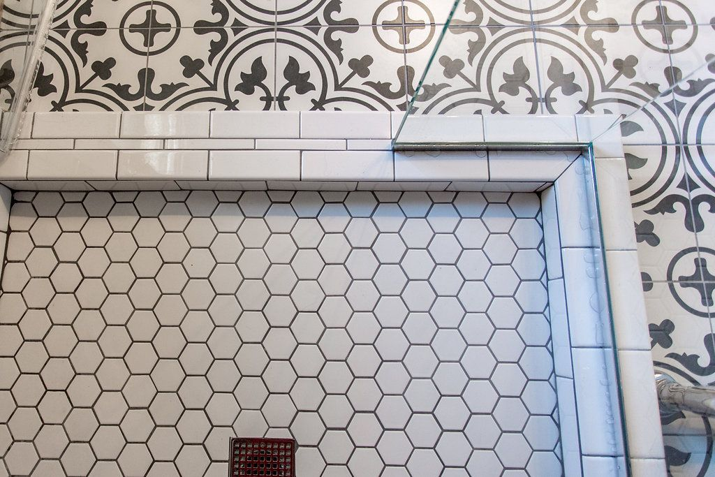 Modern Design With A Wet Room Feel Construction2style Grout Color Tile Grout Color White Hexagon Tile Bathroom