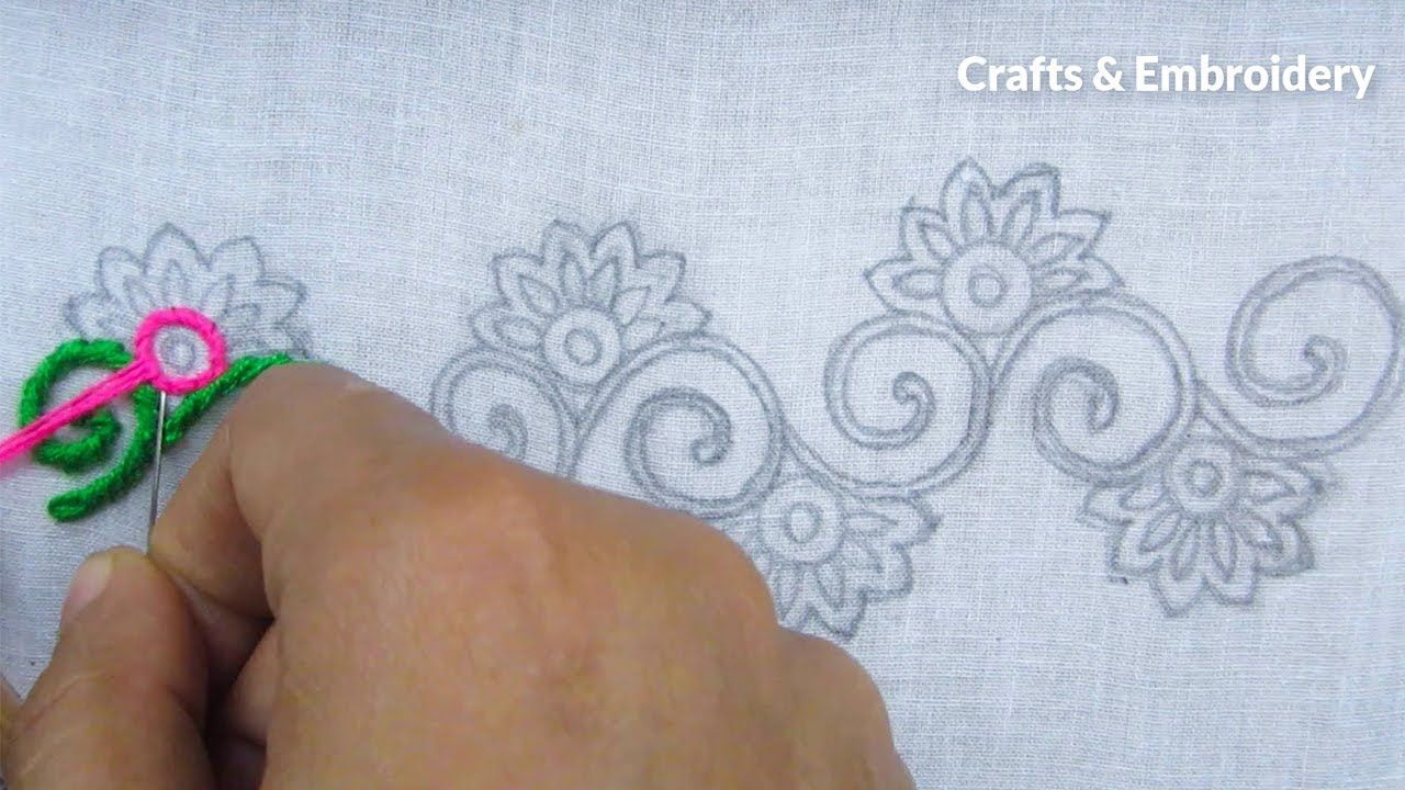 Hand Embroidery, Easy Border Line Embroidery Tutorial   YouTube ...