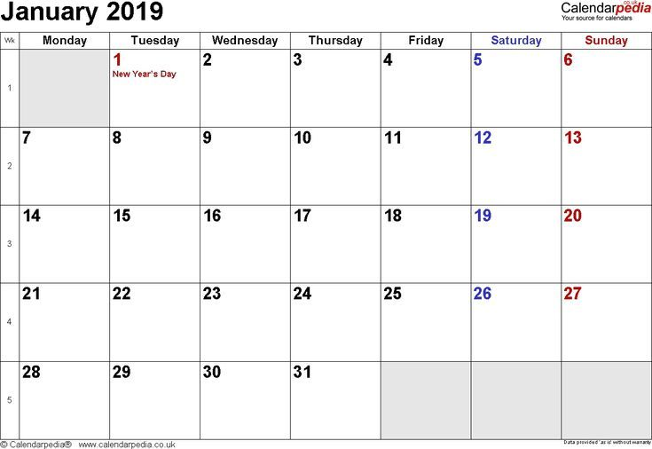 Calendar January 2019 Uk Bank Holidays Excel Pdf Word Templates
