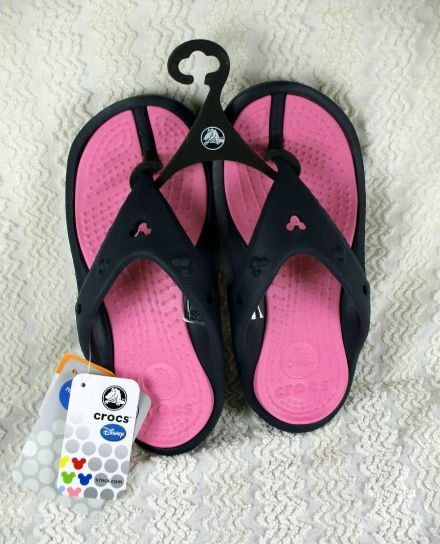 2ddd956fbadce3 Disney Crocs Athens Mickey Mouse Sandals Navy Pink Womens 6 NEW w Tags COMFY