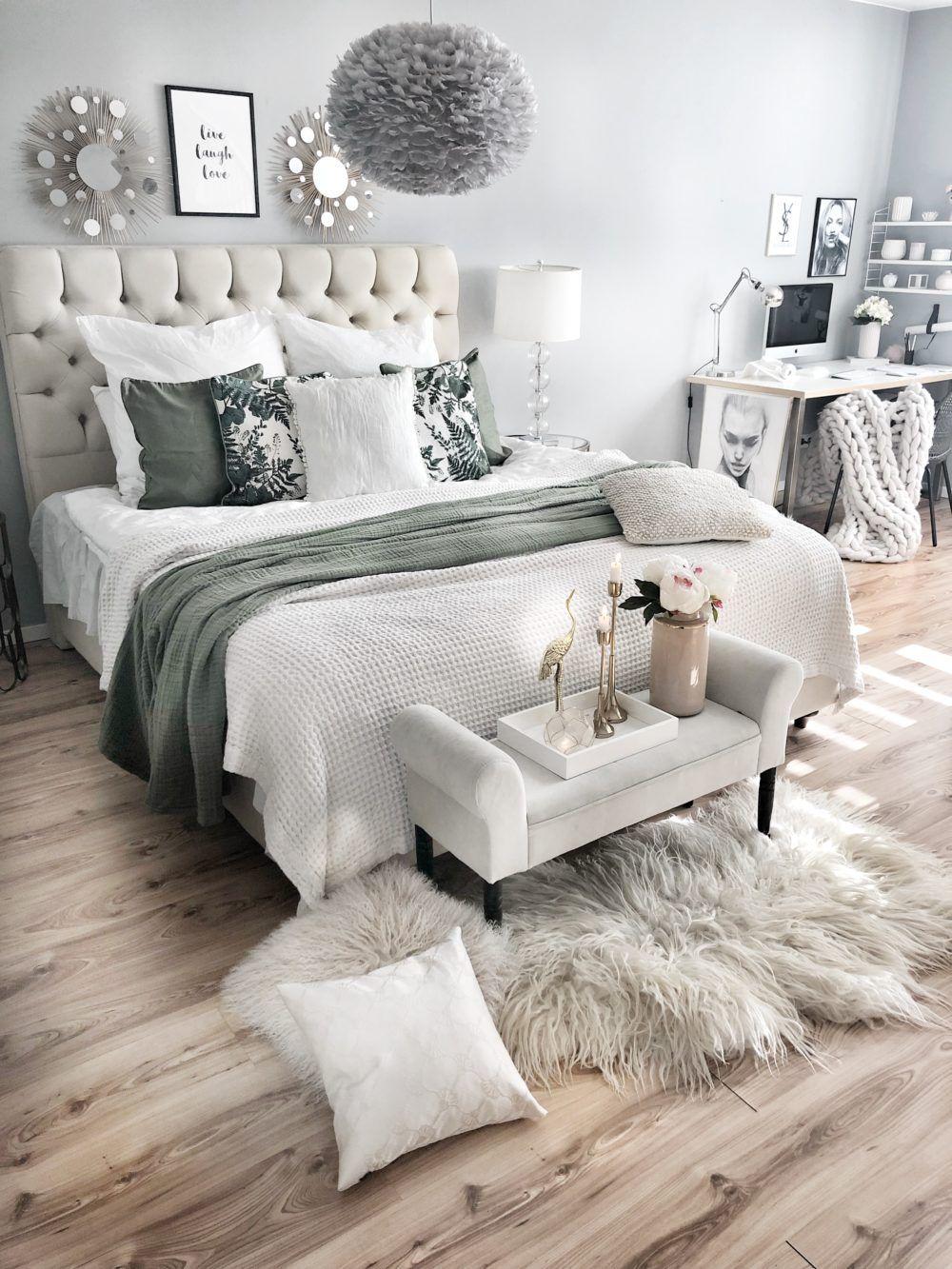 Grun Im Schlafzimmer Easyinterieur Dekoration Inneneinrichtung