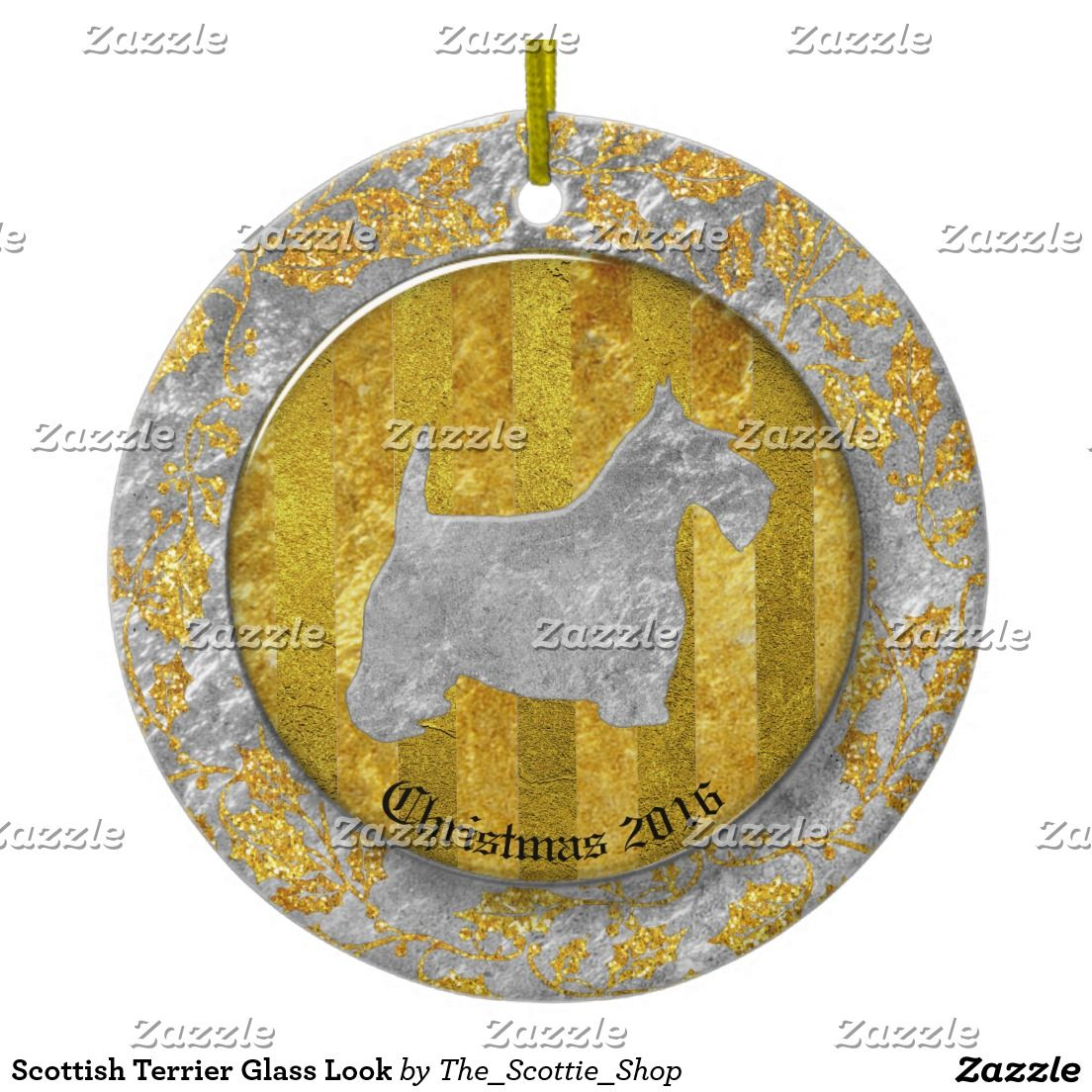 Scottish Terrier Glass Look Ceramic Ornament