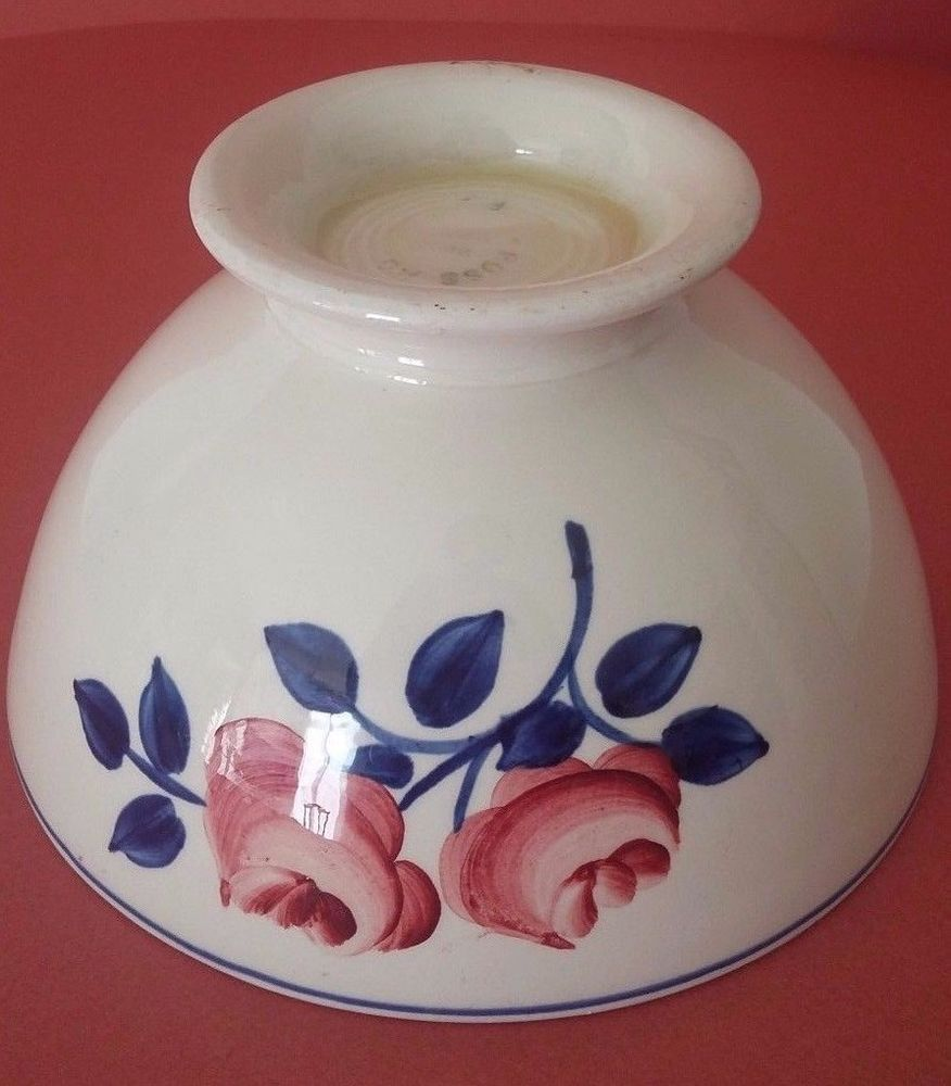 ANTIQUE FRENCH MAJOLICA BOWL SARREGUEMINES - PINK FLOWERS