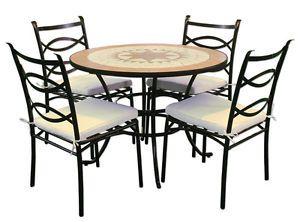 Tavolo 4 Sedie Da Giardino.Set 4 Sedie E 1 Tavolo Giardino Terrazzo Balcone Piscina Acciaio