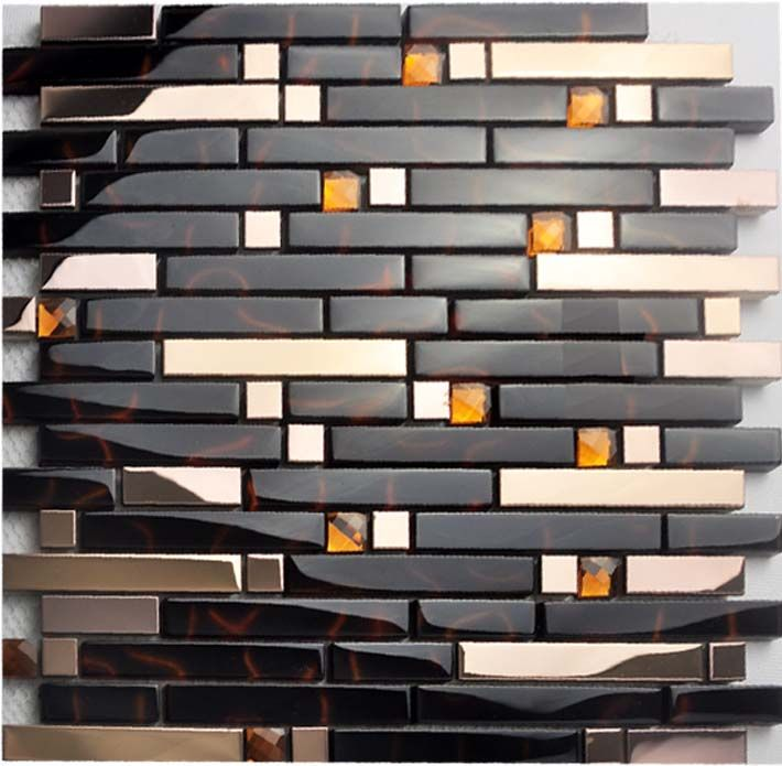 Metal Backsplash Tiles Gold Stainless Steel Sheets Metal Crystal Glass Blend Diamond Ti Metallic Backsplash Stainless Steel Sheet Metal Metal Tile Backsplash