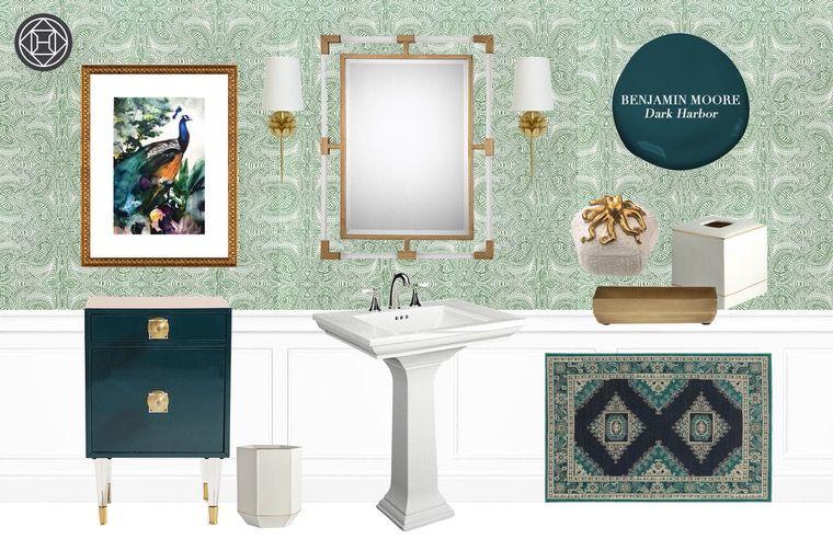 Contemporary Glam Preppy Bathroom By Havenly