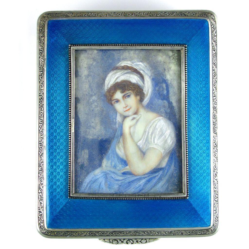 Antique german 935 sterling silver blue guilloche enamel antique german 935 sterling silver blue guilloche enamel miniature portrait jewelry box jeuxipadfo Choice Image
