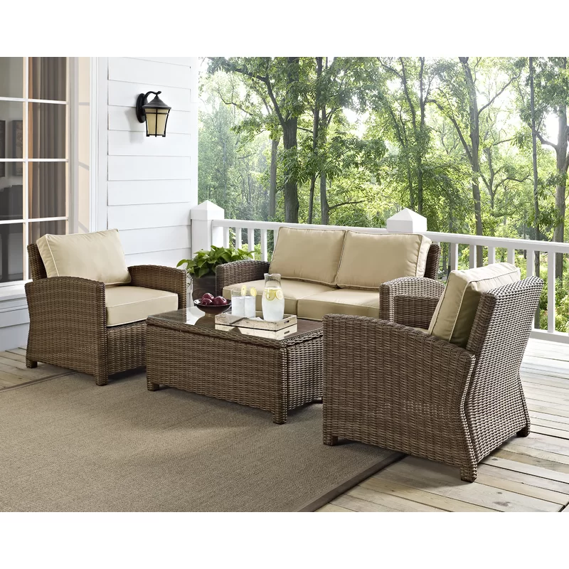Dardel 4 Piece Rattan Sofa Seating Group With Cushions Brown Wicker Patio Furniture Outdoor Wicker Seating Wicker Patio Furniture