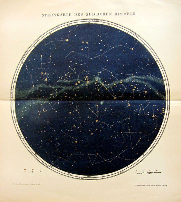 Photo of 1895年にアンティーク星空のチャート、カラーリトグラフの南半球では、オ—