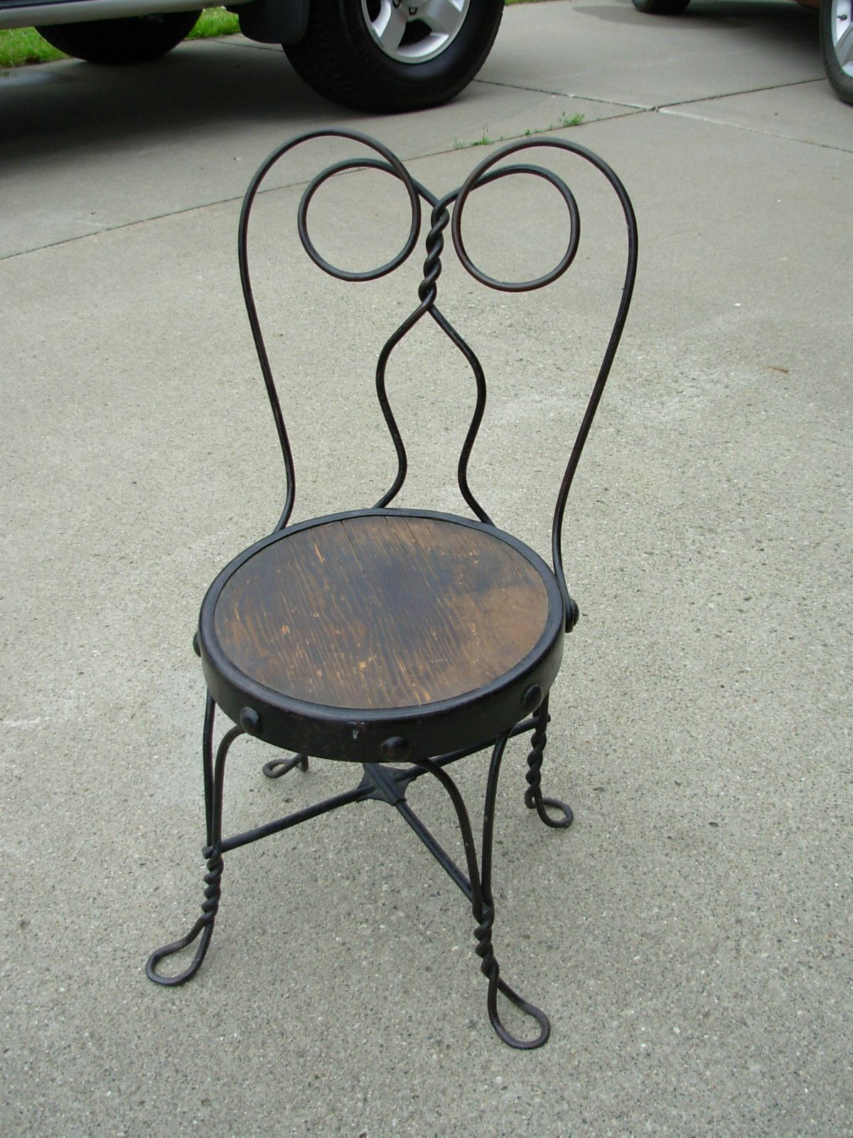 Childs Ice Cream Parlor Chair Vintage Wrought Iron Ice