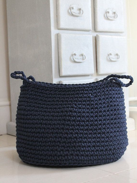 Cotton navy basket ZURI