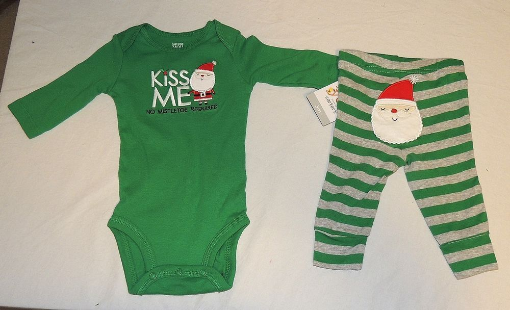 9c53caf18f New Baby Carter s First Christmas Outfit Kiss Me No Mistletoe Sizes Newborn  -3 M  Carters
