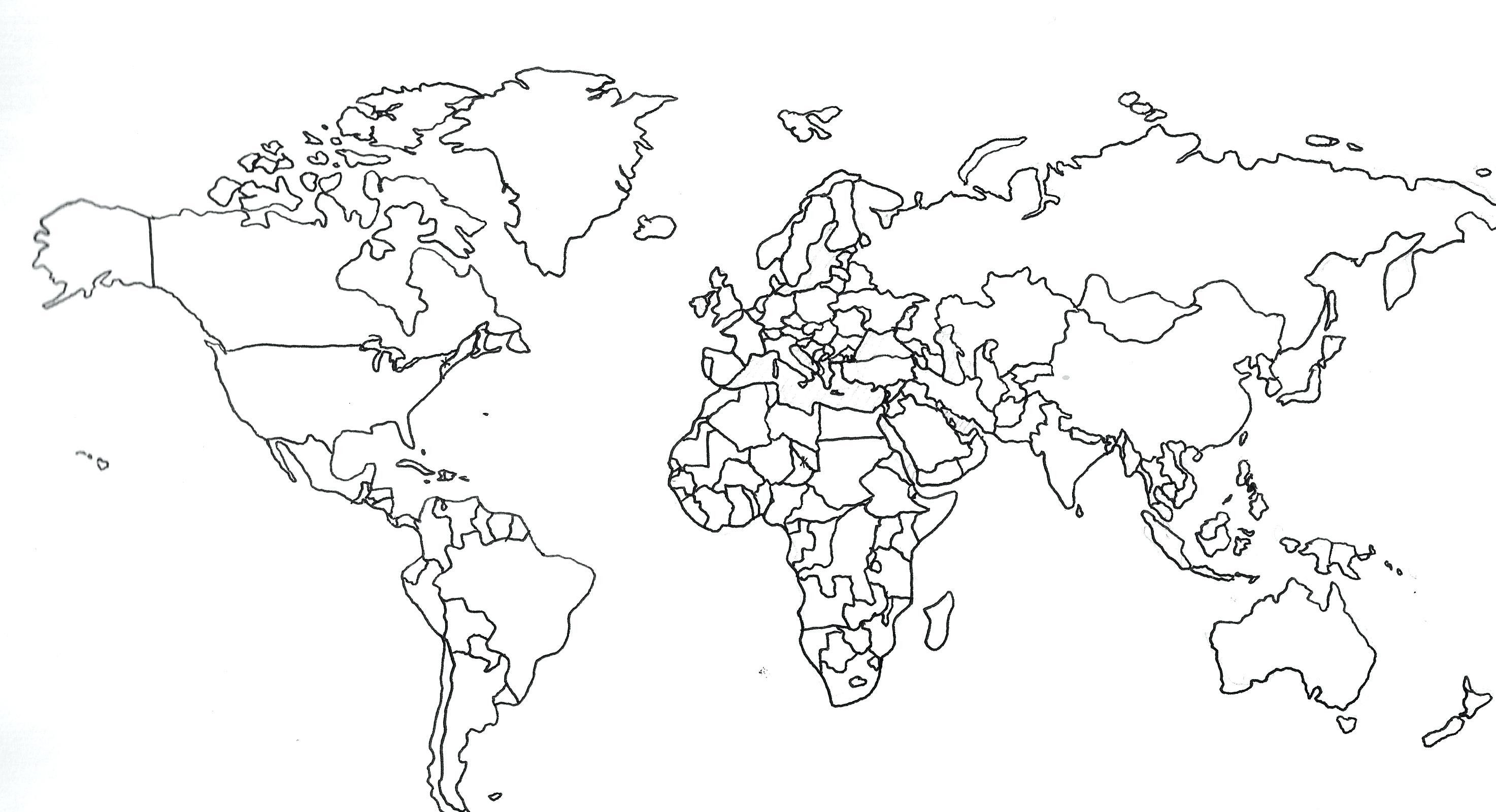 Printable Black And White World Map With Countries Printable With