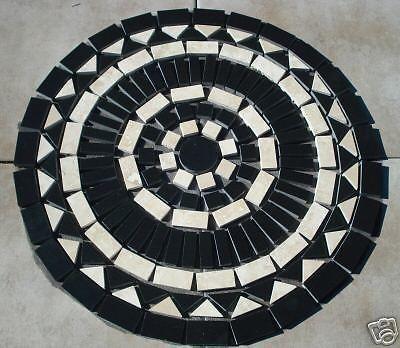 INCH BLACK GRANITE MOSAIC MARBLE MEDALLION FLOOR TILE ART In Home - 24 inch granite tile
