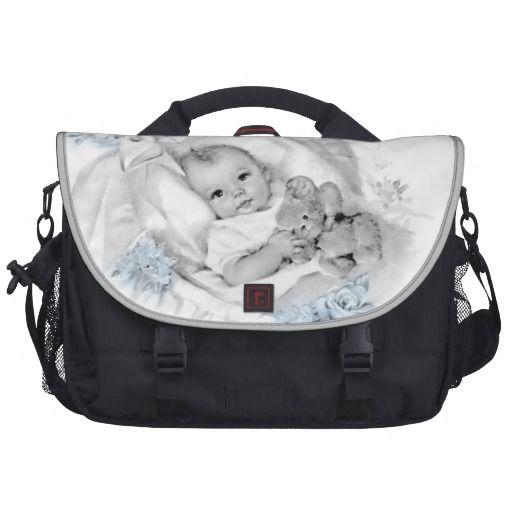 67842b3fa8ee Vintage Blue Baby Boy Diaper Laptop Bag - Such an Adorable Baby Boy ...