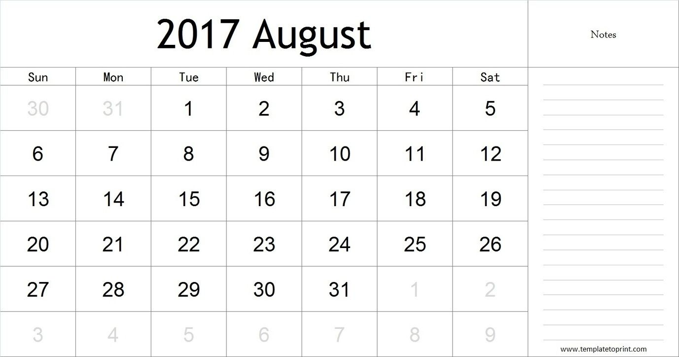 August  Calendar With Notes Pdf Blank Calendar Template