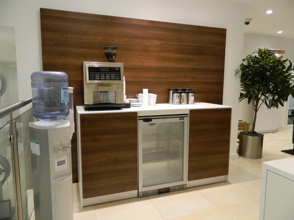 Coffee point in walnut finish with cooler workplace for Coffee station furniture