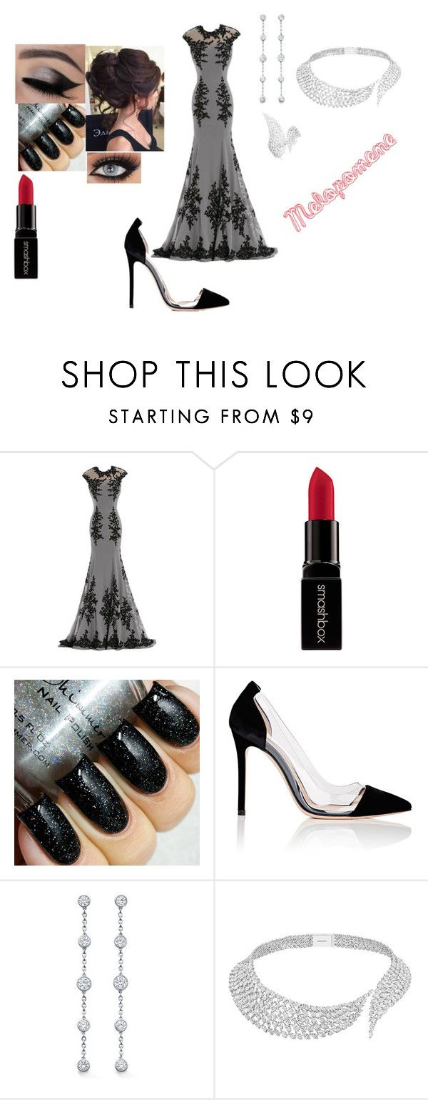 """""""Melepomene: the Muse of Tragedies"""" by fashionable-hearts ❤ liked on Polyvore featuring Smashbox, Gianvito Rossi and Messika"""