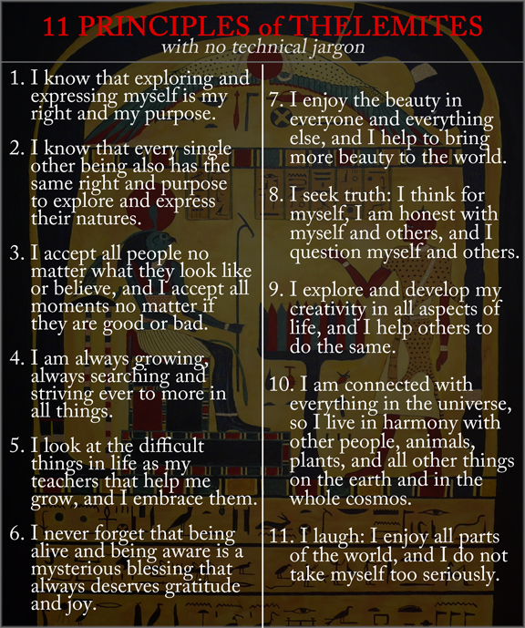 11 Principles Of Thelemites With No Specialized Jargon Thelemic
