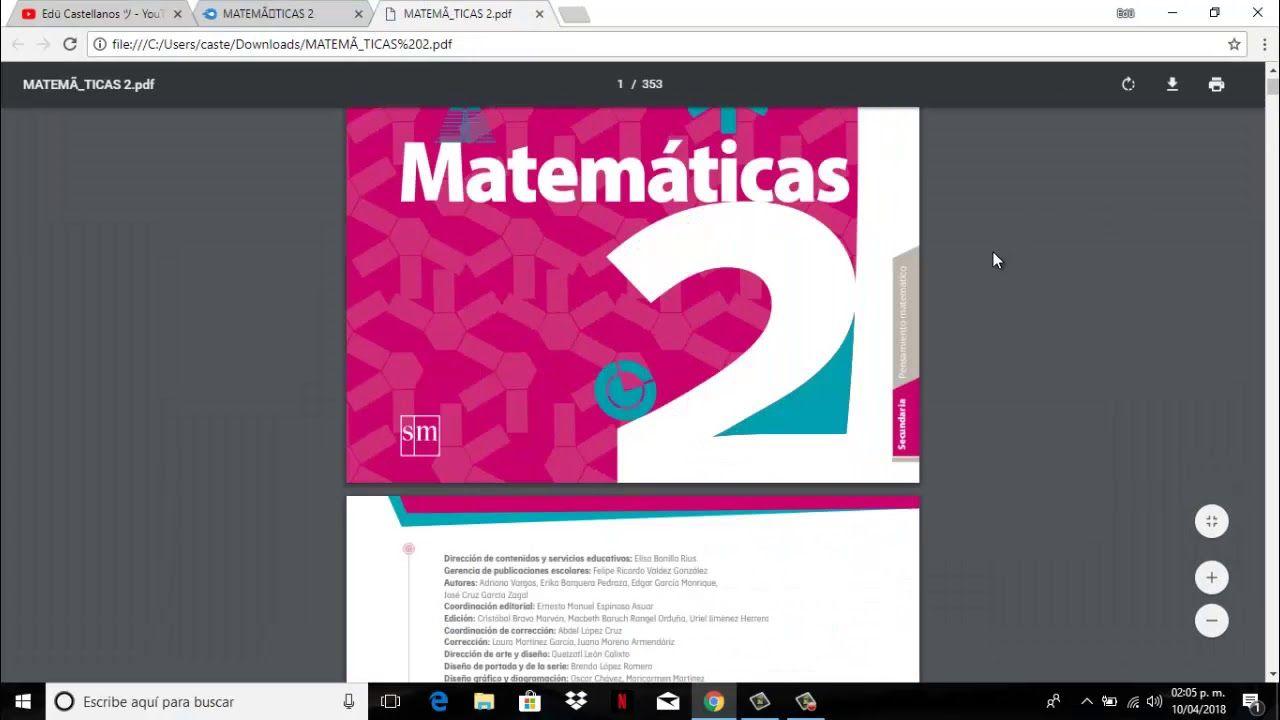 LIBRO DE MATEMATICAS DE 2DO SECUNDARIA CONTESTADO