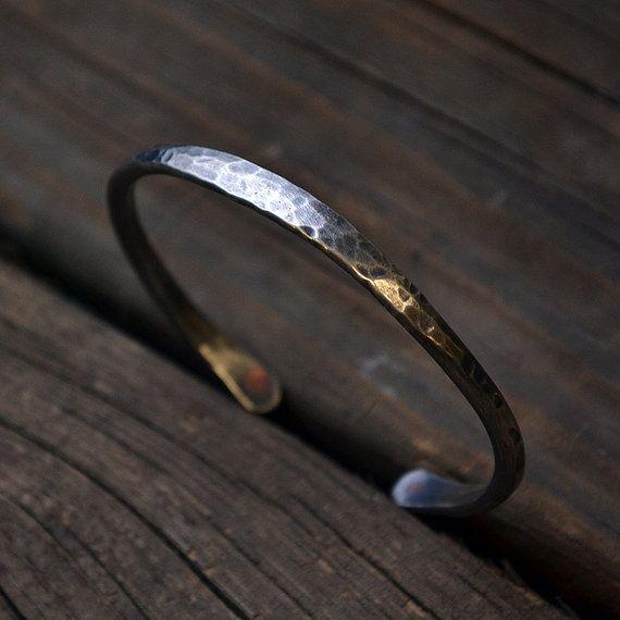 Men's Bracelet - Cuff Bracelet - Man Men Guy - Rugged Look - EcoFriendly Sterling Silver Cuff  - Custom Personalized for him - gift
